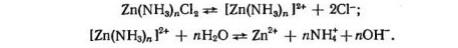 Химическая диссоциация в хлоридно-аммонийном электролите цинкования